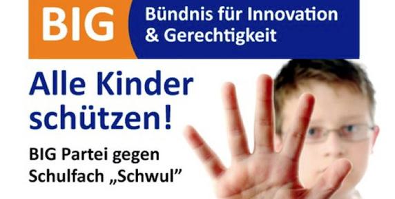Dieses Flugblatt präsentierte die BIG-Partei auf ihrer ersten Pressekonferenz in Berlin zum Wahlauftakt.