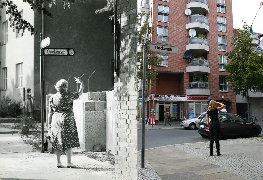 Harzer Straße/ Ecke Onckenstraße zur Zeit der Mauer und heute