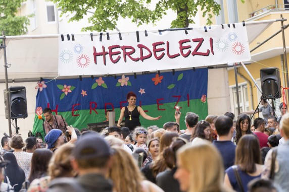 People attend the 5th 'Herdelezi Roma Kulturfestival' in the Neukoelln district in Berlin, Germany on May 7, 2016.