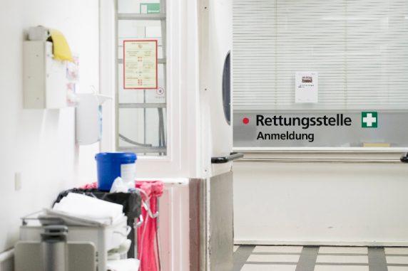 Ein Blick zur Rettungsstelle im Vivantes Krankenhaus Neukoelln in Berlin am 03. Januar 2017.