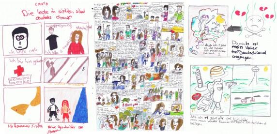 Stellvertretend für alle anderen Schüler und ihre Comics: Zeichnungen von Carlo Zambito, Josel Canu und Christian Cuomo