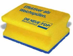 Der FDP-Schwamm: Blitzsauber soll Neukölln mit der FDP-Schwammtechnik werden. Die Grafik haben wir uns übrigens nicht selbst ausgedacht, sondern aus dem Programm geklaut.