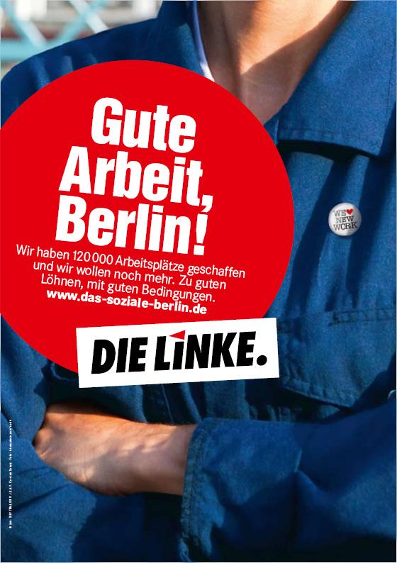 Wahlplakat: Die Linke wirbt mit bisher Erreichtem.