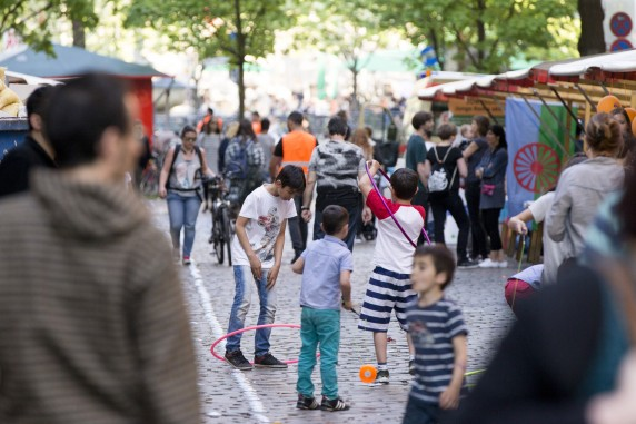 Children play during the 5th 'Herdelezi Roma Kulturfestival' in the Neukoelln district in Berlin, Germany on May 7, 2016.